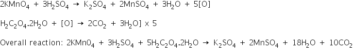 «math xmlns=¨http://www.w3.org/1998/Math/MathML¨»«mtable columnalign=¨left¨ rowspacing=¨0¨»«mtr»«mtd»«mn»2«/mn»«msub»«mi mathvariant=¨normal¨»KMnO«/mi»«mn»4«/mn»«/msub»«mo»§nbsp;«/mo»«mo»+«/mo»«mo»§nbsp;«/mo»«mn»3«/mn»«msub»«mi mathvariant=¨normal¨»H«/mi»«mn»2«/mn»«/msub»«msub»«mi mathvariant=¨normal¨»SO«/mi»«mn»4«/mn»«/msub»«mo»§nbsp;«/mo»«mo»§#8594;«/mo»«mo»§nbsp;«/mo»«msub»«mi mathvariant=¨normal¨»K«/mi»«mn»2«/mn»«/msub»«msub»«mi mathvariant=¨normal¨»SO«/mi»«mn»4«/mn»«/msub»«mo»§nbsp;«/mo»«mo»+«/mo»«mo»§nbsp;«/mo»«mn»2«/mn»«msub»«mi mathvariant=¨normal¨»MnSO«/mi»«mn»4«/mn»«/msub»«mo»§nbsp;«/mo»«mo»+«/mo»«mo»§nbsp;«/mo»«mn»3«/mn»«msub»«mi mathvariant=¨normal¨»H«/mi»«mn»2«/mn»«/msub»«mi mathvariant=¨normal¨»O«/mi»«mo»§nbsp;«/mo»«mo»+«/mo»«mo»§nbsp;«/mo»«mn»5«/mn»«mo»[«/mo»«mi mathvariant=¨normal¨»O«/mi»«mo»]«/mo»«/mtd»«/mtr»«mtr»«mtd/»«/mtr»«mtr»«mtd»«msub»«mi mathvariant=¨normal¨»H«/mi»«mn»2«/mn»«/msub»«msub»«mi mathvariant=¨normal¨»C«/mi»«mn»2«/mn»«/msub»«msub»«mi mathvariant=¨normal¨»O«/mi»«mn»4«/mn»«/msub»«mo».«/mo»«mn»2«/mn»«msub»«mi mathvariant=¨normal¨»H«/mi»«mn»2«/mn»«/msub»«mi mathvariant=¨normal¨»O«/mi»«mo»§nbsp;«/mo»«mo»+«/mo»«mo»§nbsp;«/mo»«mo»[«/mo»«mi mathvariant=¨normal¨»O«/mi»«mo»]«/mo»«mo»§nbsp;«/mo»«mo»§#8594;«/mo»«mo»§nbsp;«/mo»«mn»2«/mn»«msub»«mi mathvariant=¨normal¨»CO«/mi»«mn»2«/mn»«/msub»«mo»§nbsp;«/mo»«mo»+«/mo»«mo»§nbsp;«/mo»«mn»3«/mn»«msub»«mi mathvariant=¨normal¨»H«/mi»«mn»2«/mn»«/msub»«mi mathvariant=¨normal¨»O«/mi»«mo»]«/mo»«mo»§nbsp;«/mo»«mi mathvariant=¨normal¨»x«/mi»«mo»§nbsp;«/mo»«mn»5«/mn»«/mtd»«/mtr»«mtr»«mtd/»«/mtr»«mtr»«mtd»«mi mathvariant=¨normal¨»Overall«/mi»«mo»§nbsp;«/mo»«mi mathvariant=¨normal¨»reaction«/mi»«mo»:«/mo»«mo»§nbsp;«/mo»«mn»2«/mn»«mi mathvariant=¨normal¨»KMn«/mi»«msub»«mn»0«/mn»«mn»4«/mn»«/msub»«mo»§nbsp;«/mo»«mo»+«/mo»«mo»§nbsp;«/mo»«mn»3«/mn»«msub»«mi mathvariant=¨normal¨»H«/mi»«mn»2«/mn»«/msub»«msub»«mi mathvariant=¨normal¨»SO«/mi»«mn»4«/mn»«/msub»«mo»§nbsp;«/mo»«mo»+«/mo»«mo»§nbsp;«/mo»«mn»5«/mn»«msub»«mi ma
